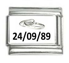 Italian Charms Custom Made  Wedding Anniversary with Date Silver Rings