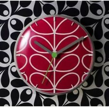 ORLA KIELY TIME LINEAR STEM WALL CLOCK - GERANIUM RED BRAND NEW BOXED