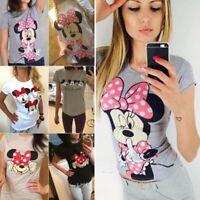 Damen Mickey Mouse Minnie Kurzarm T-Shirt Sommer Freizeit Oberteile Bluse Top DE