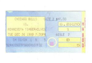 DEC 26 1989 CHICAGO BULLS VS TWOLVES TICKET STUB MICHAEL JORDAN 28 PTS 4 STEALS