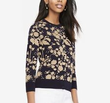 Ann Taylor Sz L Shimmer Floral 3/4 Sleeve Cardigan Sweater Navy Blue Gold NWT