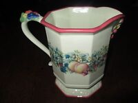 """AVON 2003 """"SWEET COUNTRY HARVEST"""" 7 1/4"""" HIGH, 42 OZ, OCTAGONAL SIDED PITCHER"""