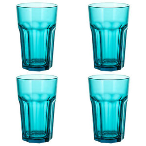 4x New IKEA POKAL Glass Turquoise Tempered Glass Cold/Hot Drink Freezersafe 35cl