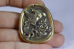 4 CM China Brass animal phoenix Pendant Brass Pendant Amulet
