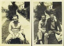 VINTAGE PHOTOS: Creepy YOUNG MAN Poses w & without AFFECTIONATE FRIEND Outdoors