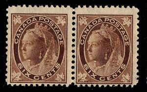 #71 pair Leaf 6c Canada mint never hinged