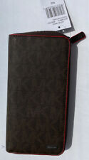 Michael Kors Mens Jet Set Logo Zip-Around Wallet Brown ONE SIZE