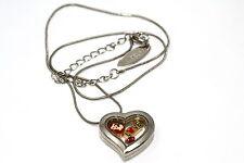 DISNEY HEART LOCKET SILVER NECKLACE FLOATING LITTLE MERMAID RUBY LOVE CHARM