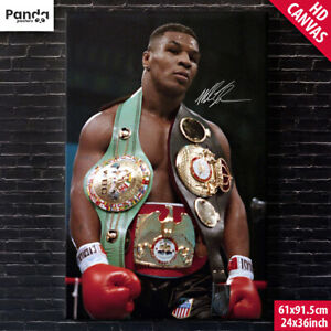 MIKE TYSON Poster Canvas 60x90cm/24x36in Boxing Championship Belt Iron Mike