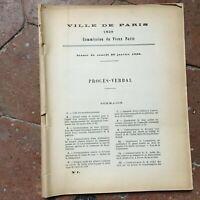 Procès-verbal Commission du Vieux Paris illustré séance de Janvier 1929