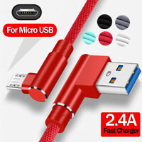 Micro USB 90° Angle Quick Charger Data Charging Cable For Samsung Redmi Note 5 6