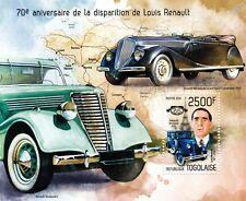 LOUIS RENAULT & Monasix RY2/Juvaquatre/Nervastella Car Stamp Sheet (2014 Togo)