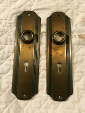Pair Brass Art Deco Door Knob Backplates, Original Aged Patina, Free S/H
