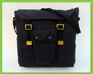 Heavy Duty Canvas Messenger Shoulder Bag Cross-Body Webbing Biker Haversack Blk
