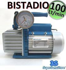 3S POMPA VUOTO BISTADIO 100 LT min con ELETTROVALVOLA VACUOMETRO CLIMATIZZAZIONE
