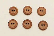 "Set of 6 Tan Genuine Leather Buttons 2-Hole Flat 5/8"" Vintage"
