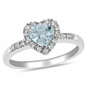 Heart Shaped Aquamarine and Real Diamond Frame Ring 14K White Gold Over Sz 8
