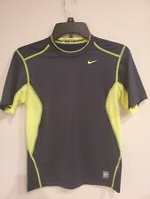 Youth Boys Nike Pro Combat Athletic Shirt Medium 10-12 Black & Flouresent Yellow