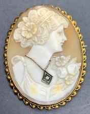 Cameo Pin 10.5 Grams P-4 Antique 14k Solid Gold & Diamond
