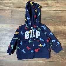 Boys Baby Gap Blue Bear Ear Hood Logo Jacket Dinosaur Size 3-6 Months
