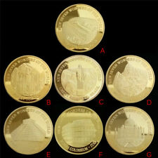 7Pcs Seven Wonders of the World Gold Coins Set Commemorative Coin Collection Set