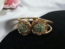 Vintage Estate Gold Crushed Green Jade Stone Clamper Cuff Scalloped Bracelet