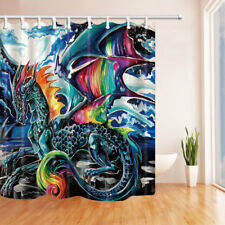 Colorful Dragon Shower Curtain Fantasy Animals Fabric Shower Curtain Set 71in