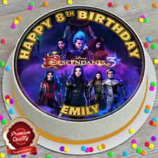 DESCENDANTS HAPPY BIRTHDAY PERSONALISED 7.5 INCH EDIBLE CAKE TOPPER C357