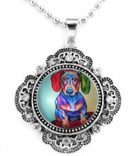 "COLORFUL DACHSHUND DOG SNAP BUTTON CRYSTAL NECKLACE ON A 25"" CHAIN ~NEW!"