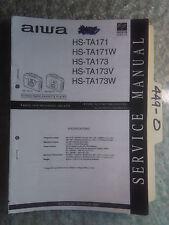 Aiwa hs-ta171 ta173 v w service manual original repair book stereo radio