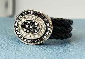 CHARRIOL 18K White Gold 3 Row Diamond Cable Steel Ring Size 7. Lowest Price Ebay