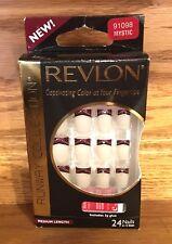 Revlon SEXY Mystic Glue On Nails! Maroon Tips w/Accent-VAMPIRE-GOTH-CLUBWEAR!