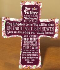Ceramic Pottery Cross - Wall or Table Top - Lord's Prayer - Our Father