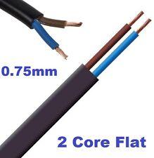 2 Core 0.75mm 6 Amp PVC Flexible Cable 1m 5 100m Flat Flex Electrical Wire BLACK