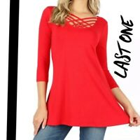 Plus Size Red Criss-Cross Caged Strappy X-Long Short Sleeve Blouse 1X 2X 3X