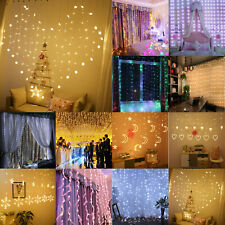 LED Curtain Fairy String Lights Hanging Window Bedroom Wedding Party Decor Lamp