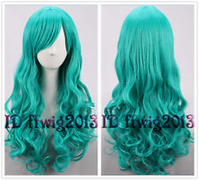 65cm Long Dark Turquoise Wavy Curly Hair MERMAID Cosplay Wig +a wig cap