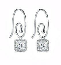 Sterling Silver Scroll Earring Hoops W/ Clear CZ Charms and Bonus Pandora Box