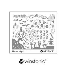 Winstonia Halloween Nail Art Stamping Image Plate HORROR NIGHT Scary Spooky Cute