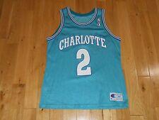 Vintage 1993 Champion LARRY JOHNSON Teal CHARLOTTE HORNETS NBA Team JERSEY Sz 44