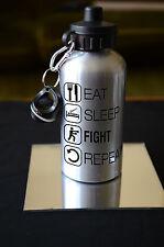 BOXER Regalo EAT SLEEP lotta Bottiglia D'Acqua Regalo Di Compleanno Sport accessorio argento