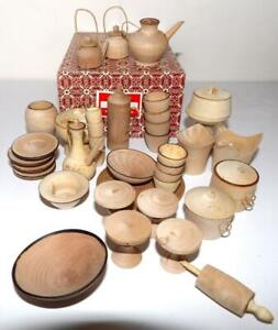 Shanghai Handicrafts MINIATURE WOODEN DOLL DISHES Dollhouse Accessories
