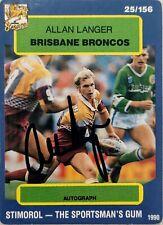 ✺Signed✺ 1990 Scanlens Stimorol Allan Langer (Broncos) NRL card