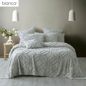 Willow Silver Cotton Chenille Coverlet Set or Accessories by Bianca