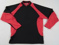 Wolverine Men's Polyester Hydro Vent L/S 1/4 Zip Black & Red Shirt - Large