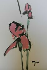 JOSE TRUJILLO Acrylic Painting Expressionist Pink Roses Flowers Botanical 7/17