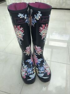 Ladies Joules Wellies Size 6 Long Navy Floral
