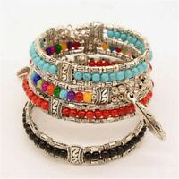 Tibetan Silver Jewelry Beads Bangle Turquoise Chain Bohemian Women Bracelet Hot