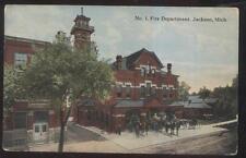 POSTCARD JACKSON MI/MICHIGAN  HORSE DRAWN FIRE DEPARTMENT STATION TRUCKS 1907