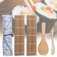 BAMBOO ROLLING Stuoie Sushi MAKER RISO GIAPPONESE FAI DA TE SPATOLA 5 Paia Bacchette oiuk